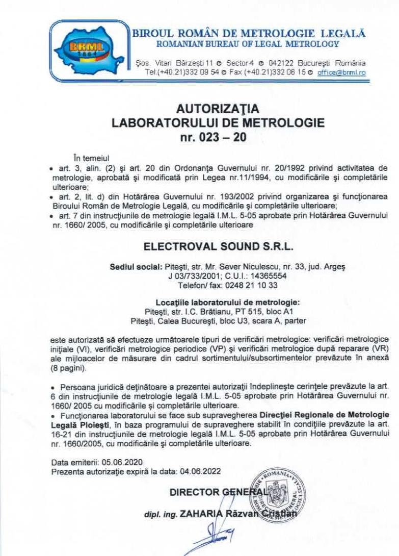 Autorizatie laborator metrologie