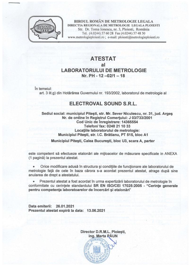 Atestat laborator metrologie